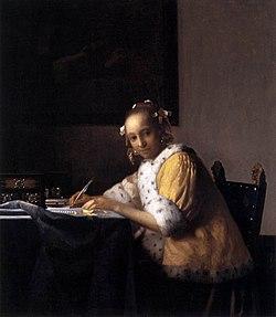 Donna che scrive una lettera