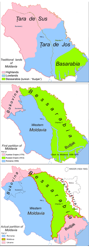 The regions of the historical principality of ...