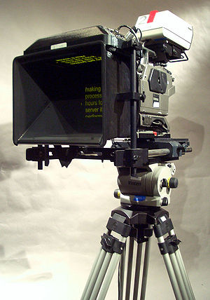 Photo of a teleprompter displaying text