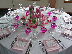 Table setting at a wedding diner