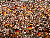 German fans at the FIFA Worldcup 2006 in Germany, at the public viewing of the Germany - Ecuador match at the Ruhrstadion Bochum.