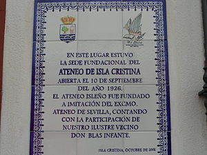 Placa del Ateneo de Isla Cristina