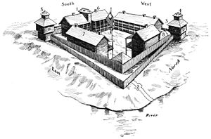 English: Bird's-eye view of Fort Dearborn, Chi...