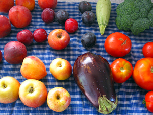 Fruits and vegetables from a farmers market. c...