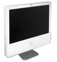 This case design housed the iMac G5s and the early Intel iMacs. Earlier revisions excluded the integrated iSight camera above the screen.