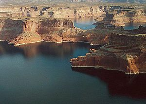 Lake Powell from above Wahweap Marina.