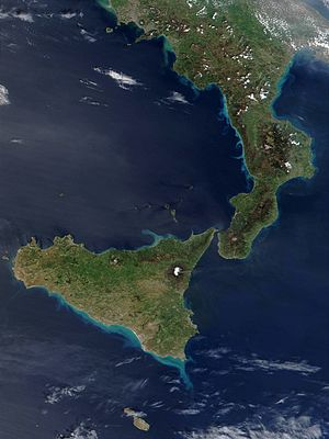 Sicily, Calabria and Basilicata in southern It...