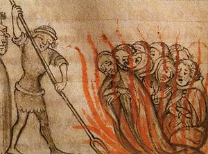 Templars burned at the stake.