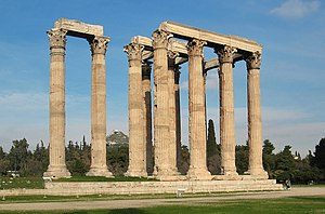 Temple of Zeus in Athens at Athens.