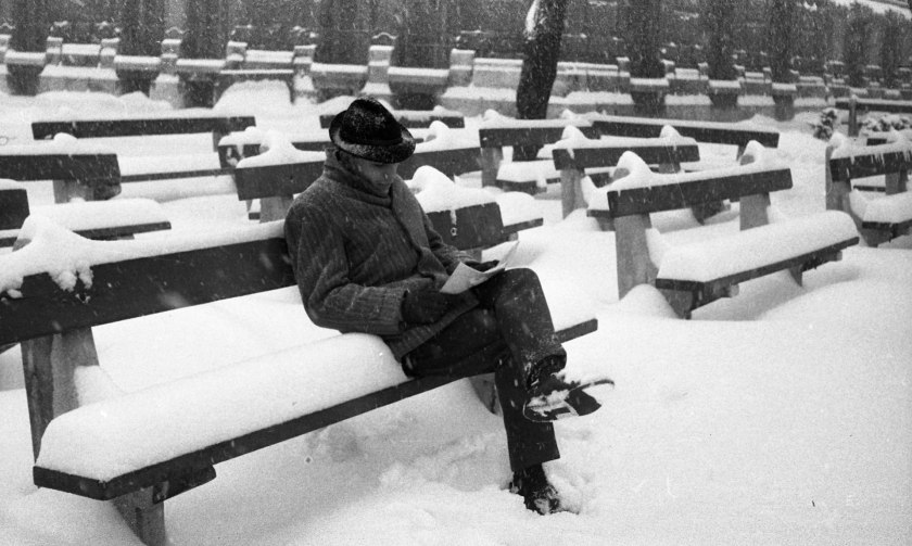 Man sitting on a bench reading in the snow