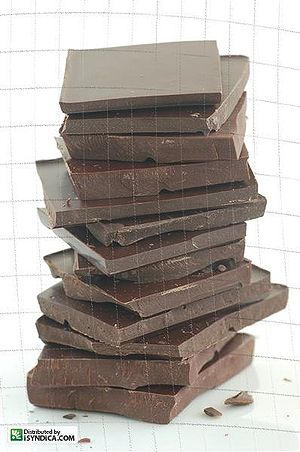 A stack of dark chocolate