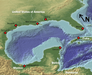 3d overview of the Gulf of Mexico, with some p...