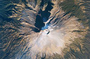 Mexico's Popocatépetl volcano in 2009; Stone c...