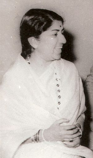 English: Indian singer Lata Mangeshkar as a yo...