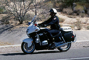 A motor officer patrolling in Arizona on a BMW...
