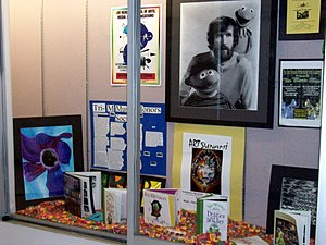 A display case about Jim Henson, creator of &q...
