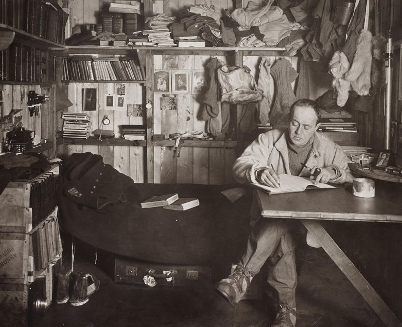 Robert Falcon Scott in the Cape Evans hut, October 1911