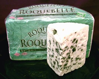 French Roquefort, a famous blue cheese, which ...