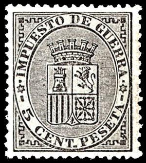 English: War tax postage stamp of Spain, 5 cen...
