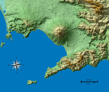 English: Shaded terrain map of the Naples and ...