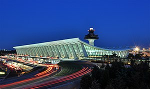 English: Main Terminal of at dusk in Virginia,...