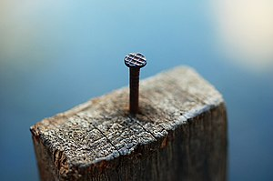 A nail sticking out from a block of wood.
