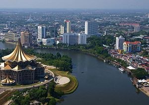 English: The Sarawak River flowing through the...