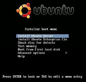 English: Screen Shot of Installing Ubuntu Server