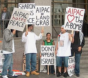 Protesters outside of AIPAC conference at Wash...