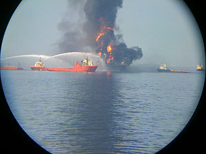 English: Fire on the offshore drilling rig Dee...