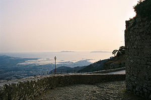 A view from Erice to Favignana and Levanzo. On...