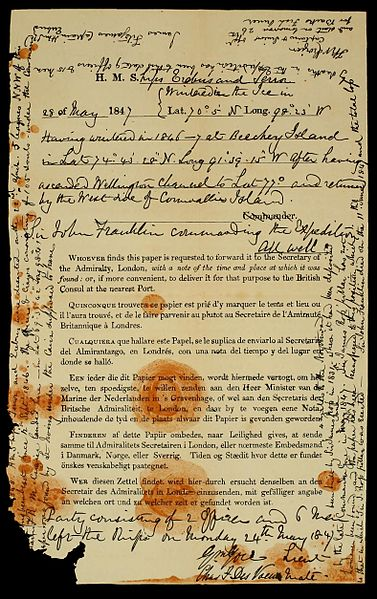 Archivo:Franklinexpeditionnote.jpg