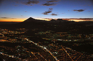 Guatemala City, aerial view, night, 2009