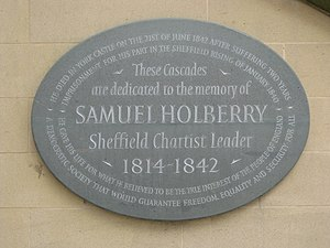 English: Holberry Plaque, Peace Gardens, Sheffield