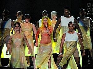 "English: Lady Gaga performing ""Born This ..."