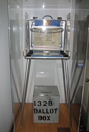 2000 Palm Beach County voting stand and ballot box