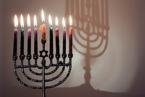 The last night of Chanukah; Menorah with all 8...
