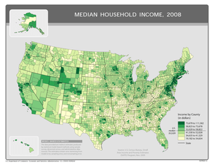 Median household income by county in the Unite...
