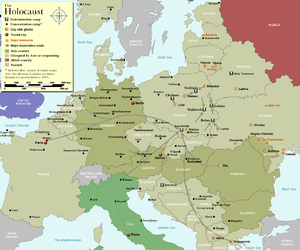 Map of Holocaust sites, with the Drancy camp a...
