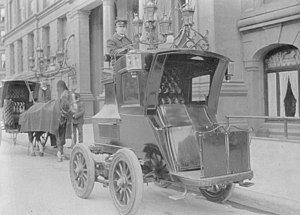 German electric car, 1904, with the chauffeur ...