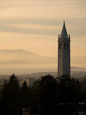 Sather Tower (the Campanile) looking out over ...