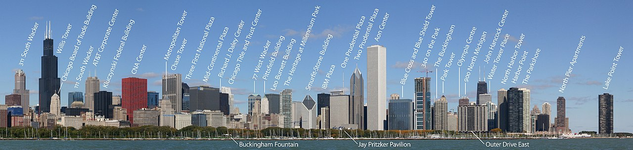The skyline of a city with many large skyscrapers; in the foreground are a green park and a lake with many sailboats moored on it. Over 30 of the skyscrapers and some park features are labeled.