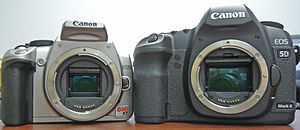 English: Comparison of the Rebel XT and 5D Mar...