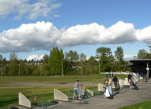 English: Golf driving practice range with 43 l...