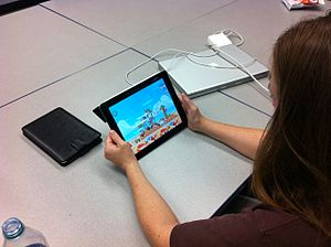 English: iPads can be a distraction to learning