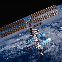 The International Space Station in 2001 showing solar panels.