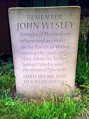 English: Remember John Wesley, Wroot. Photo by...