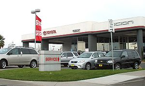 A Toyota car dealership at the Fremont Auto Ma...