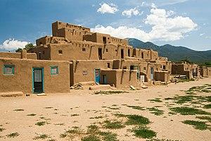 Taos Pueblo multi-storied residential complex ...