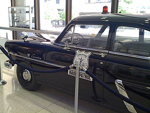 English: A 1952 Ford Customline patrol car tha...